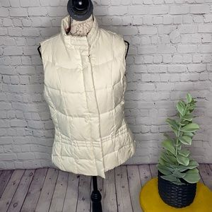 Lilly Pulitzer Cream paisley puffer down vest snap